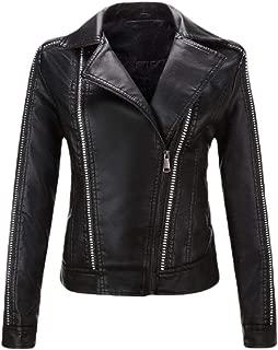 Womens Oblique Zipper Short Jacket Locomotive Faux Leather PU Rivets Jackets