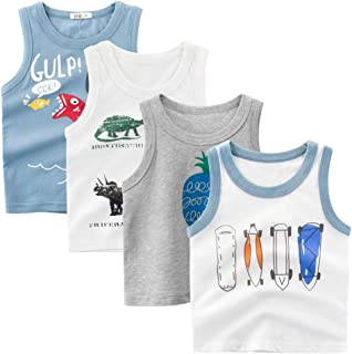 Guozyun Baby Tank Tops Toddler Boys Sleeveless T-Shirts Infant Baby Boys Kids Tees Undershirt Cami Shirts 1-5T 4Pack