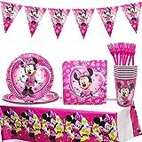 Minnie Decoraciones de Fiesta de cumpleaños, 42 Pcs Juego de Cubiertos de Minnie, Cumpleaños Vajilla Set de Fiesta Kids Birthday Mickey, Plato, Servilleta de Papel para Niños Baby Shower