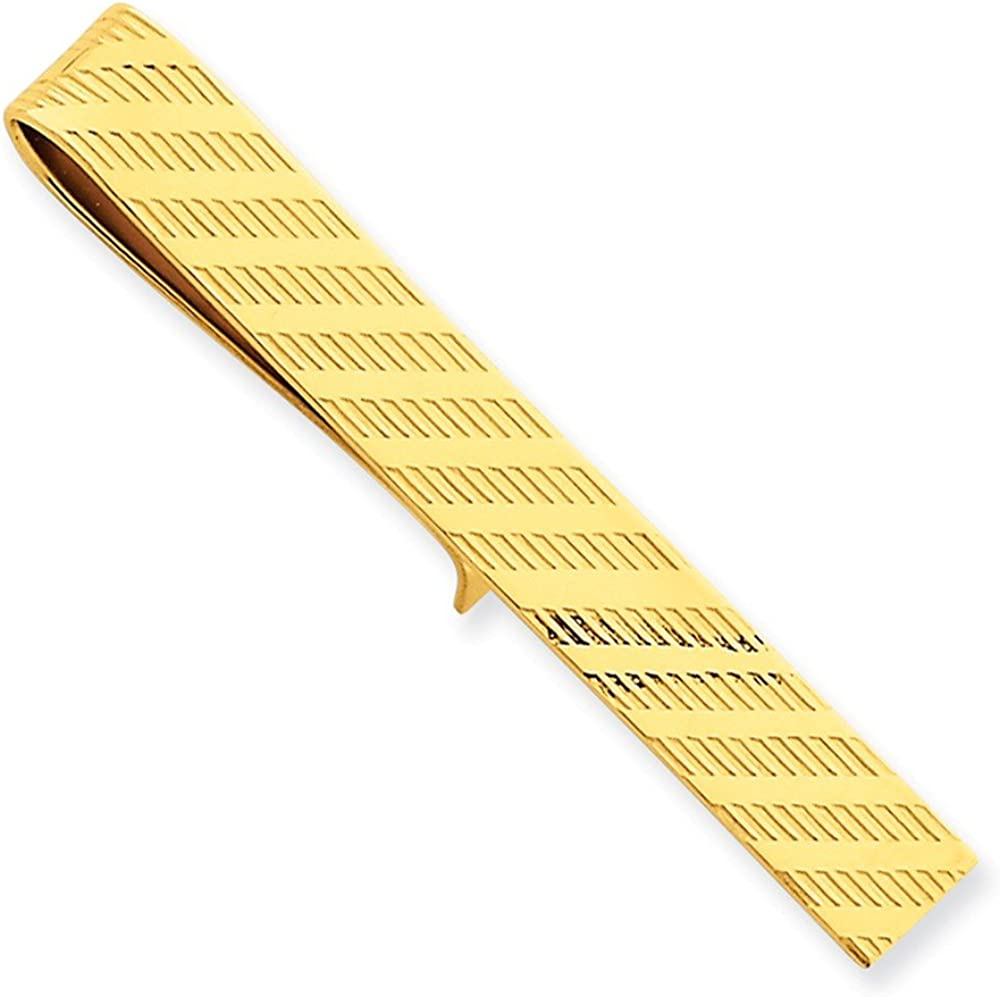 Couture Jewelers- 14k Yellow Gold Tie Bar with Diagonal Stripe Design, Casual Wear Jewelry – Birthday Gift, Men Accessory
