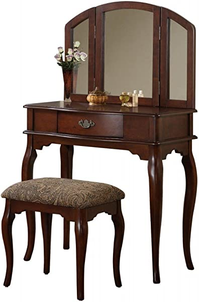 BOBKONA Jaden Collection Vanity Set With Stool Cherry