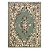 Keshan Orientalischer klassischer Teppich für Wohnzimmer, Schlafzimmer, fusselfrei, traditionell, 180 x 270 cm, Grün