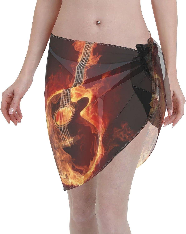 Flaming Burning Guitar Fire Musical Women Short Sarongs Beach Wrap Sheer Sexy Short Skirt Bikini Scarf Chiffon Cover Ups for Swimwear Black