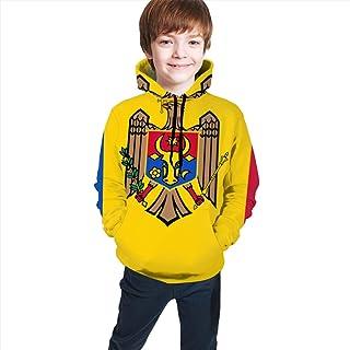 FJUT Jhf Teen Kids Flag_of_Moldova Hooded Sweatshirts Long Sleeve Pullover Hoodies for Boys Girls