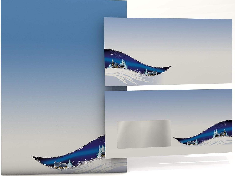 Weihnachts-Briefpapier Set Weihnachtsnacht, 100 Blatt Motivpapier Motivpapier Motivpapier A4 und 100 FENSTER-KUGrünS B00A28532U | Haltbarer Service  b25f97