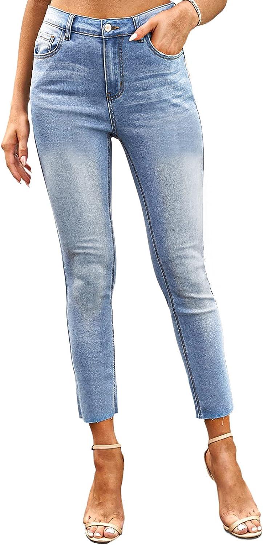 AZOKOE 2021 Women Washed Frayed Denim Pants Regular Fit Bootcut Jeans