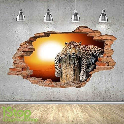 1Stop Graphics Shop Leopardo Tramonto Muro Adesivo 3D Look - Salotto Camera da Letto Natura Animale da Parete, Decalcomania Z493 - Large: 70 cm x 120 cm