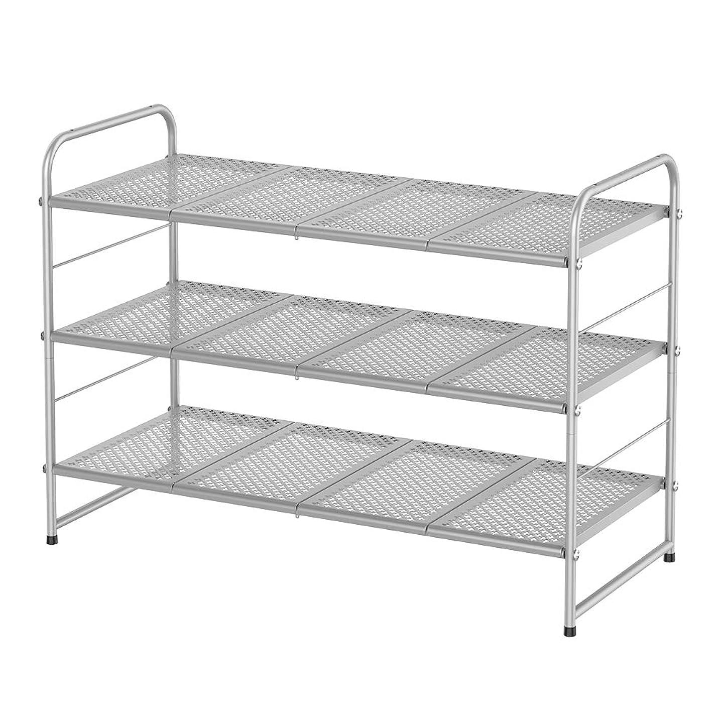 NEX 3 Tier Shoe Rack Stackable Metal Shoe Shelves Storage Organizer Rack