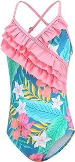 Ezimbo Traje de baño para niña de una pieza con protección UV hawaiana para 2-14 años