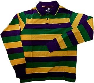 Adult XLarge XL Mardi Gras Rugby Stripe Purple Green Yellow Long SLV Shirt