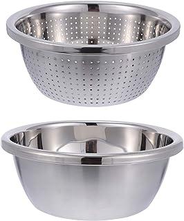 DOITOOL 2 stks/1 Set Rvs Vergiet met Bowl Professionele Zeef Zelfafvoerende voor Pasta Rijst Spaghetti Fruit Wash