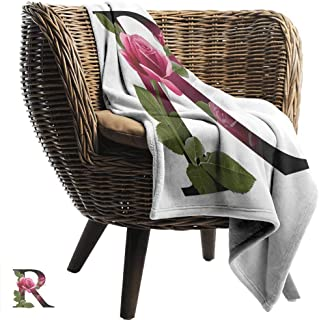 Mannwarehouse Letter R Warm Blanket Capitalized R Symbol with Flower of Love Rose Nature Inspired Font Alphabet Fall Winter Spring Living Room Pink Green White