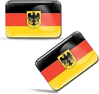 2 x 3D Domed Silicone Stickers Decals Bundesrepublik Deutschland Federal Republic of Germany National German Flag Car Motorcycle Helmet F 34