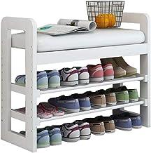 Household Adjustable Wooden Shoe Rack Bench White 2 Tier Storage Cabinet Hallway Storing Unit Cupboard Versatile Seat Surf...
