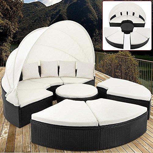 Deuba Round Black Polyrattan Sun Lounger Diameter 230 cm Garden Furniture with Sun Shade
