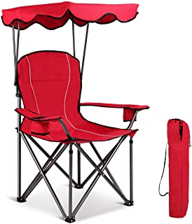 Gymax Canopy Chair, Portable Folding Beach Pool Chair Lawn Chair with Canopy Two Cup Holders and Carry Bag, for Outdoor Beach Camp Park Patio