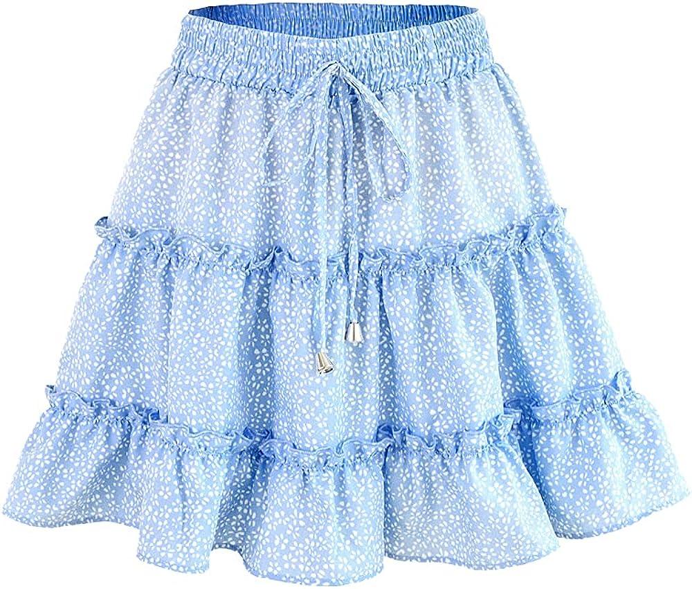 ATHX Women's Mini Floral Skirt High Waist Short Draped Skirts