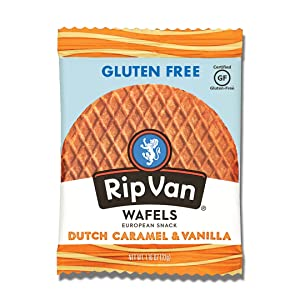 Rip Van Wafels Gluten-Free Stroopwafel - Dutch Caramel & Vanilla Stroopwafels - Healthy Gluten-Free Snacks - Non-GMO Snacks - Low Sugar (6g) - Low Calorie Snack - 12 Count