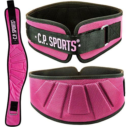 C.P. Sports Profi-Ultraleichtgürtel Farbe: Schwarz & Pink, Damen, Herren Trainingsgürtel - Fitness Gewichthebergürtel, Bodybuilding, Krafttraining (56-67cm-PINK)