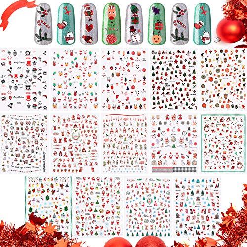 15 Sheets Christmas Nail Art Stickers, 3D Self-Adhesive Nail Decals, Snowflakes Snowmen Santa Claus Xmas Tree Elk Nail Stickers for Women Girls Christmas Nail Decorations, DIY Manicure, Nail Salon