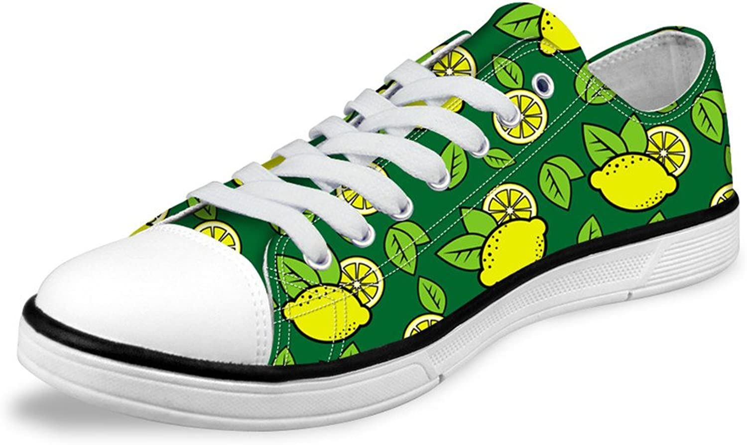 Women Casual White Low Top Canvas shoes with Cute Cartoon Fruit Pattern