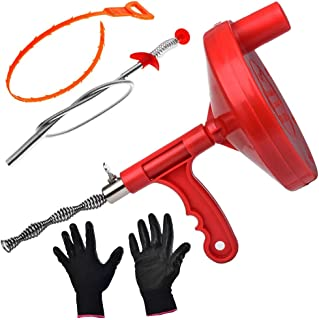 Drum Auger Plumbing Snake, 25-Ft Durable Steel Heavy Duty Toilet Kitchen Drain Snake Cable - Also Includes Steel Drain Clog Remover, Plastic Drain Snake Tool and Work Gloves. by Gesoon