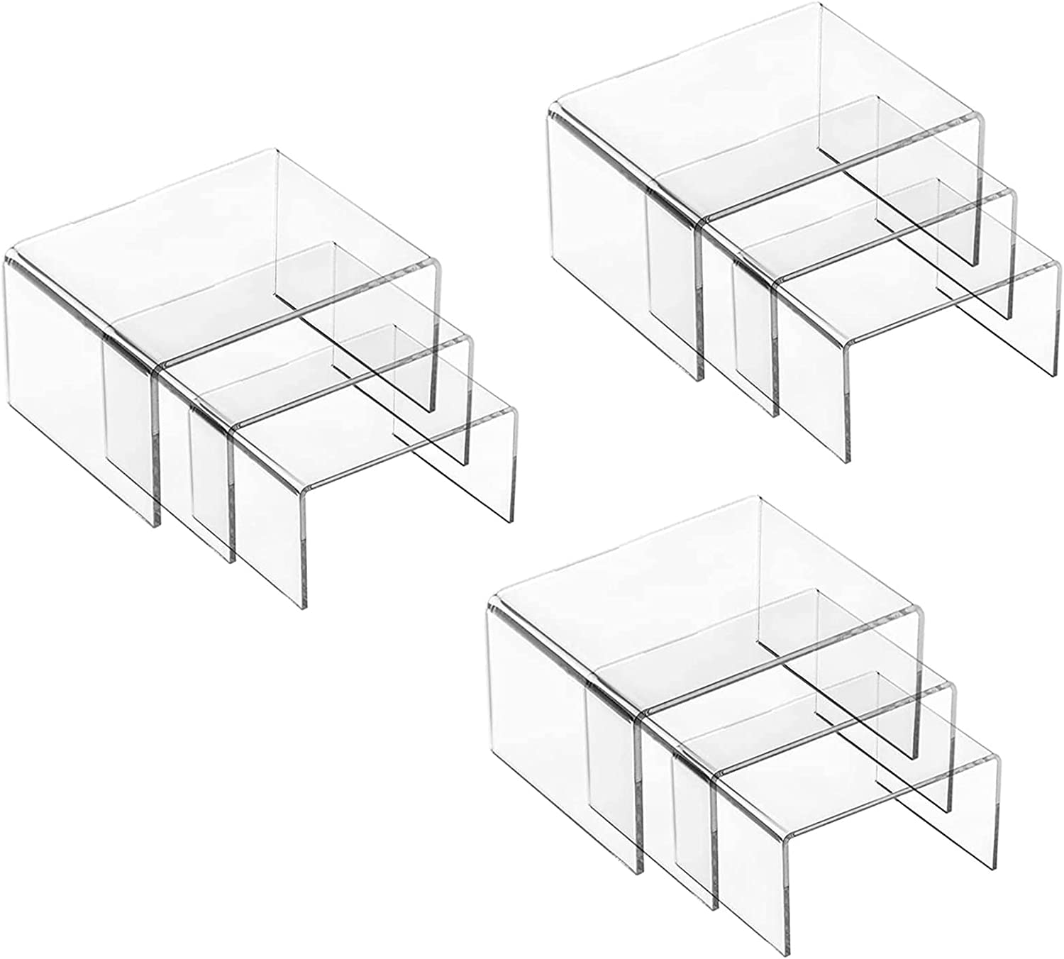 Sgran Set Max 80% OFF of 9 Max 69% OFF Acrylic Display Risers Clear Jewelry Size 3 - Dis