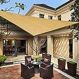 Heng feng toldo vela de sombra triangular 3 x 3 x 3 m protección rayos uv solar protección hdpe transpirable aislamiento de calor para dar sombra a su jardín color arena