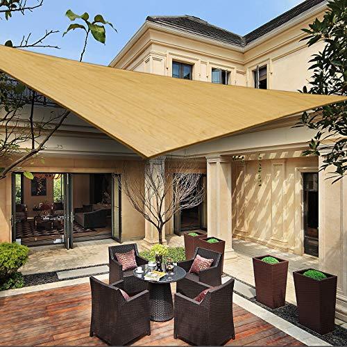 HENG FENG Toldo Vela de Sombra Triangular 3 x 3 x 4.25 m Protección Rayos UV Solar Protección HDPE Transpirable Aislamiento de Calor para Dar Sombra a su Jardín Color Arena