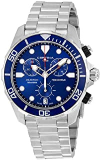 Certina DS Action Chronograph Blue Dial Stainless Steel Mens Watch C0324171104100