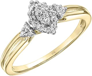 Brilliant Expressions 10K Yellow and White Gold 0.07 Cttw Conflict Free Diamond Marquise Halo Cluster with Grooved Band Engagement Ring (I-J Color, I2-I3 Clarity)
