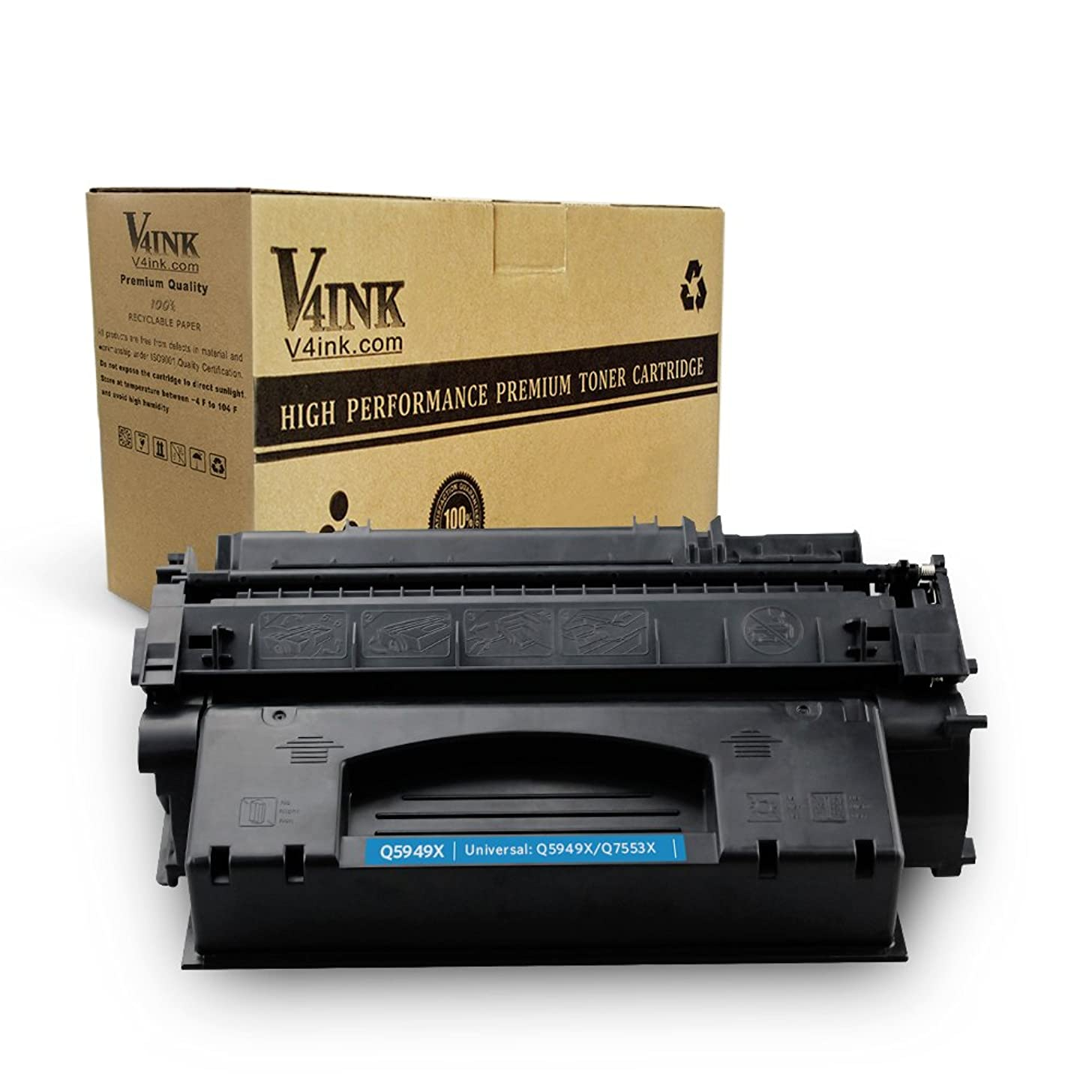 V4INK Compatible Toner Cartridge Replacement for HP 49X Q5949X HP 53X Q7553X (Black, 1-Pack), for use in HP Laserjet P2010 P2014 P2015 P2015d P2015dn P2015n P2015x M2727MFP M2727nf MFP Printer