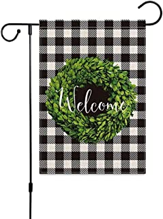 Welcome Garden Flags, ELECDON Burlap Garden Flag Double Sided Summer Fall Outdoor Farmhouse Decor, Small Garden Flag 12x18...