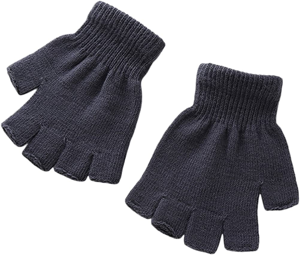 X&F Boys' and Girls' Solid Knitted Half Finger Mittens Typing Gloves, Small