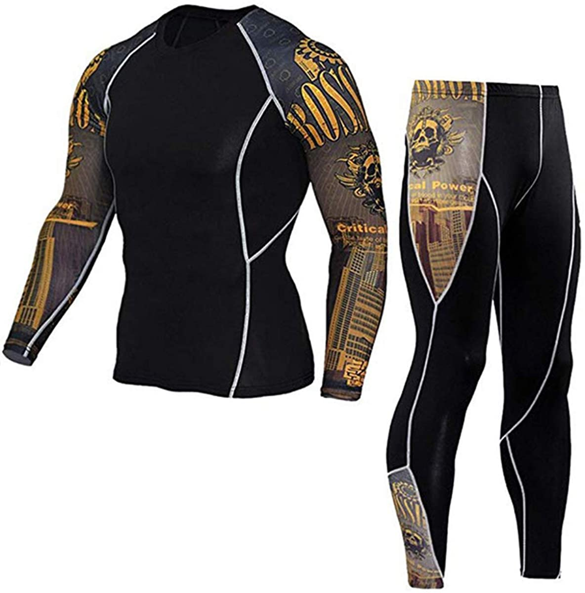 Men's Gym Running Fitness Kit Compression Shirt Great interest Long S Limited price Top Pants