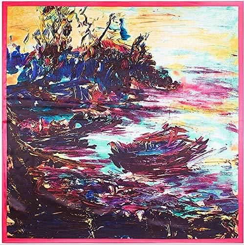 YDMZMS voorjaarssjaal, 90 x 90 cm, olieverfschilderij, voor kleine bedden, zijden sjaal, dames sjaal met hartvormige uitsnijding