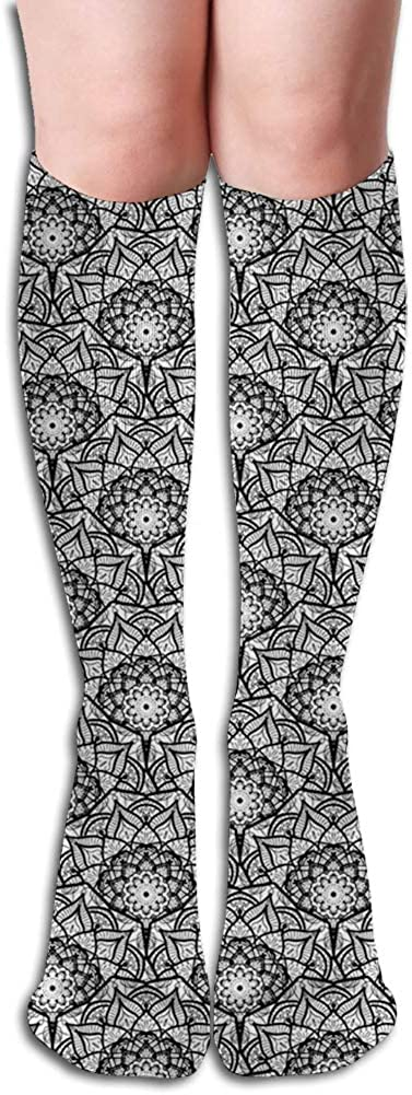 Men's and Women's Funny Casual Combed Cotton Socks,Hand Drawn Flower Pattern with Oriental Inspirations Lace Style Petals