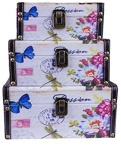 Panojoe Set di 3 Cassette in Legno, cassapanca, cassapanca, cassapanca, cassapanca, cassapanca, Stile Vintage, incastrabili (24 x 19 x 11,5 cm/21 x 16 x 9,5 cm/18 x 13 x 7,5 cm)
