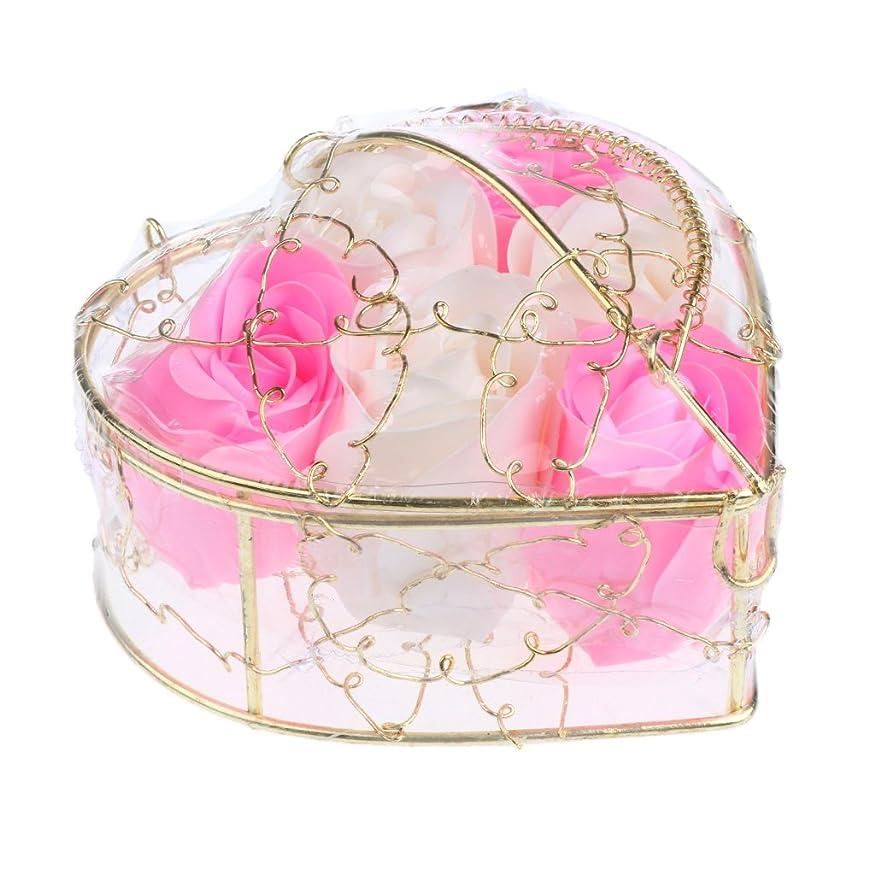 チームあなたは減らす6個 石鹸の花 石鹸花 造花 フラワー バラ ソープフラワー シャボンフラワー フラワーボックス プレゼント 全5タイプ選べる - ピンクとホワイト