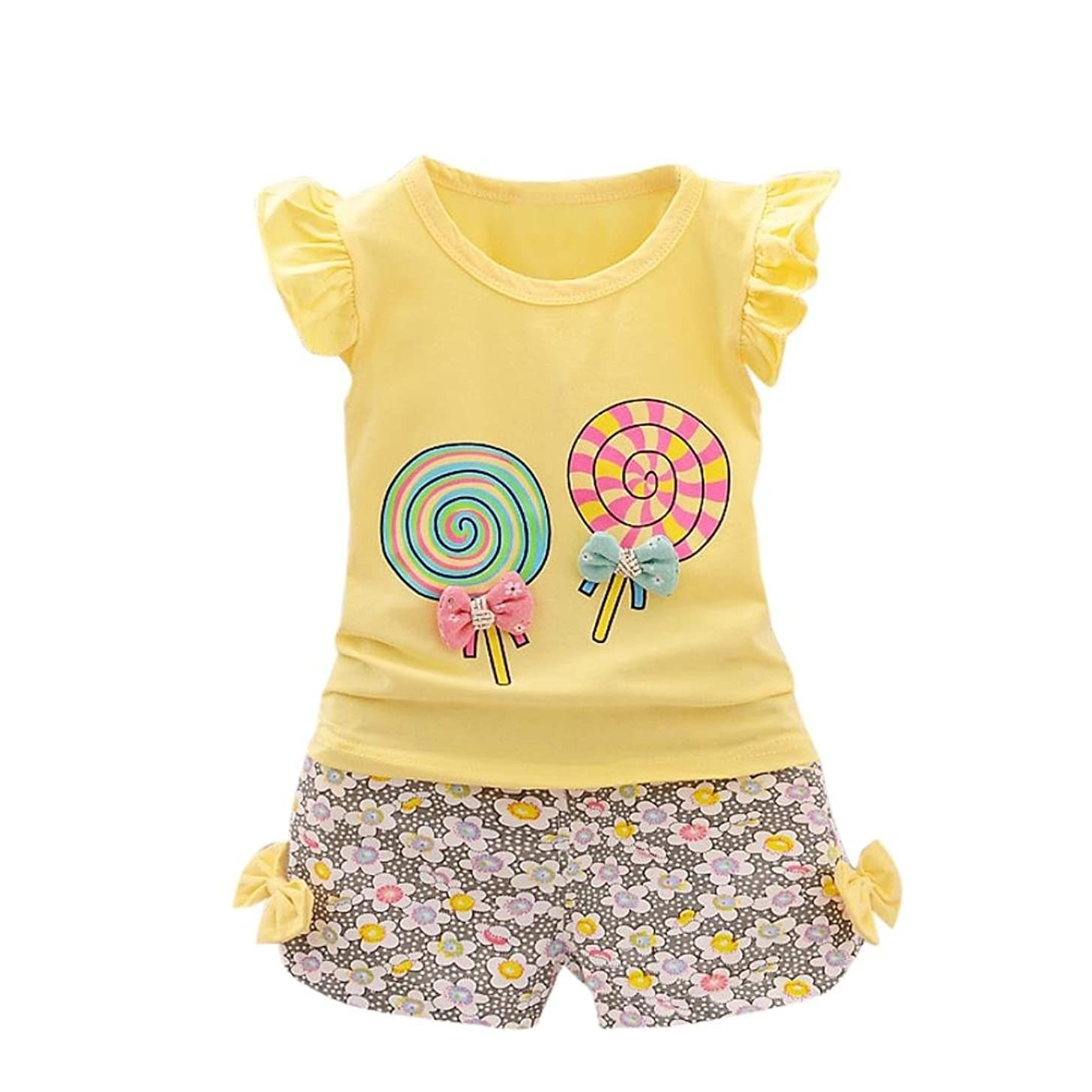 FAPIZI 2PCS Toddler Baby Girls Kids Lolly T-Shirt Tops+Short Pants Clothes Set Outfits