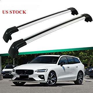 MotorFansClub Roof Racks Crossbars for Volvo V60 2013 2014 2015 2016 2017 2018 2019 Lockable Baggage Luggage Racks Cross Bar (2 PCS)