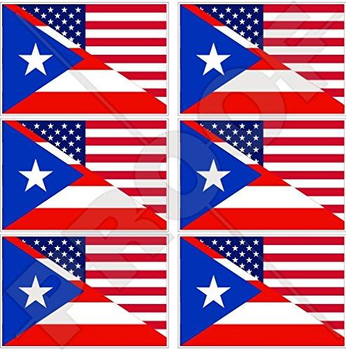 Lot de 6 mini autocollants en vinyle avec drapeau américain et portoricain de 40 mm