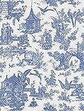 Beacon House 2669-21767 Zen Garden Toile Wallpaper, Sapphire