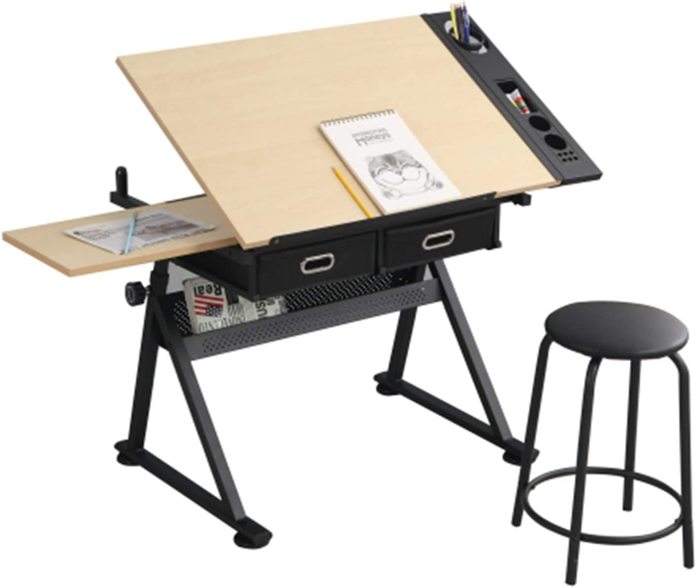 Pure Pang Adjustable Wood Drafting Desk Drawing Easy-to-use Tables Stoo Recommended with