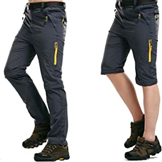 LHHMZ Mens Outdoor Hiking Trousers Convertible Breathable Lightweight Quick Dry Trousers Shorts Casual Walking Climbing Cy...