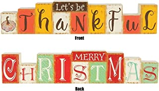 Holiday Decor Reversible Let's Be Thankful Merry Christmas Decorative Table Sign, 12 Inches
