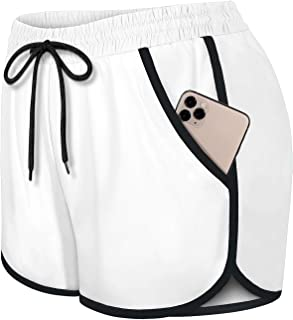 Fulbelle Womens Double Layer Drawstring Elastic Waist Athletic Shorts with Pockets