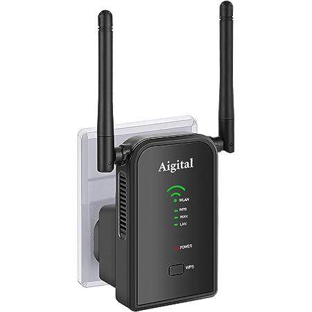 Aigital 300Mbps Repetidor WiFi Enrutador Inalámbrico WiFi (Ethernet RJ45) Extensor de Red WiFi Punto Acceso para Mejorar La Señal ...