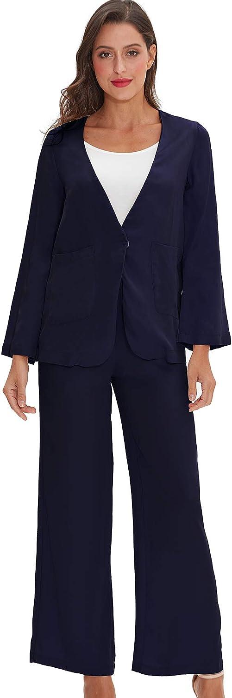 Xintianji Viscose Suit Set for Women Casual Work Wide Leg Pant Blazer Set 2 Piece Outfits for Women