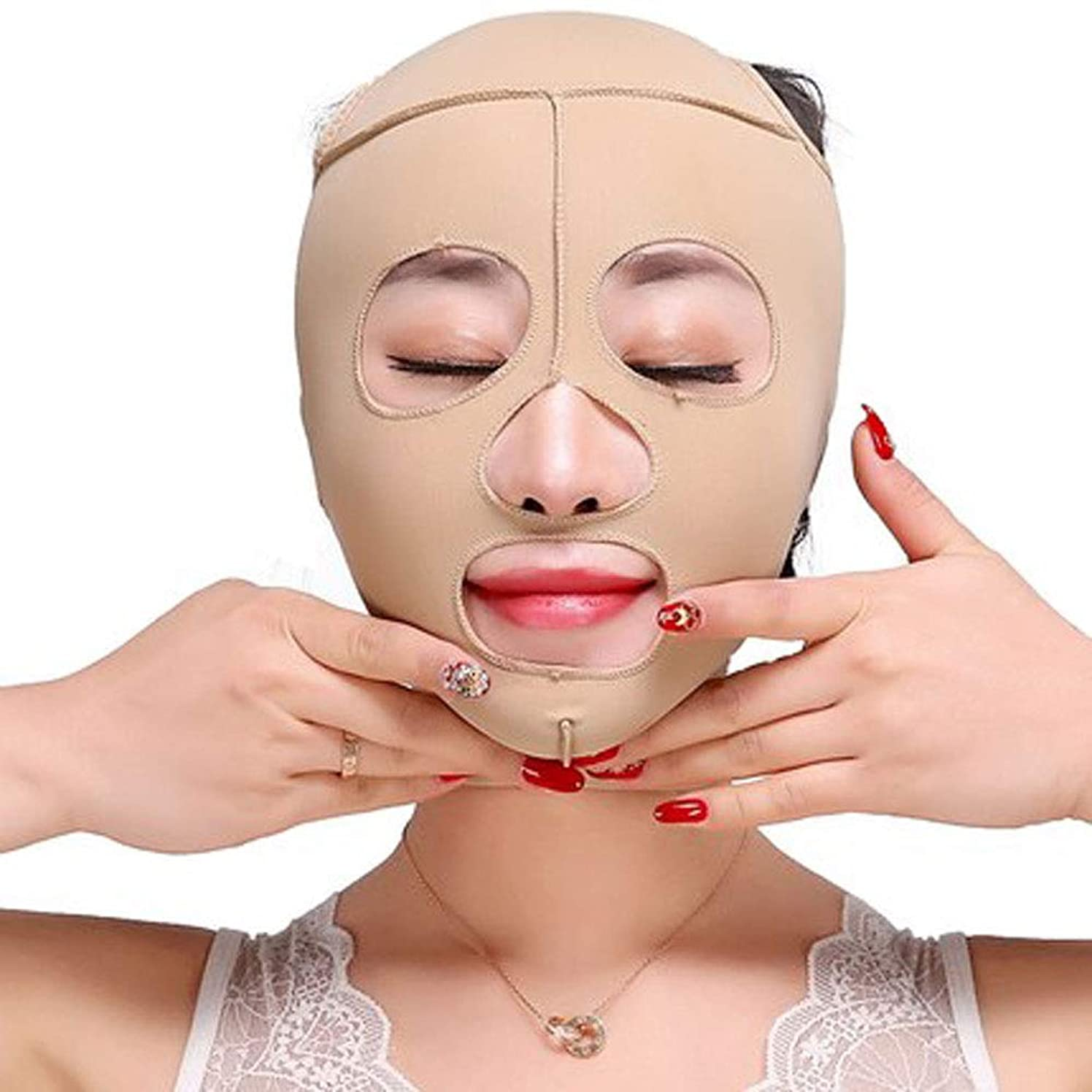 マイナーブラウス偏心GLJJQMY フェイシャルリフティングフェイシャルVマスクダブルあご薄い顔包帯抗シワリフティングチークライン 顔用整形マスク (Size : M)